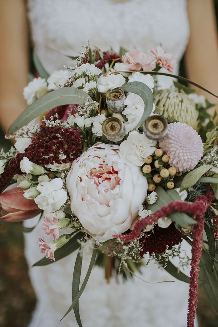 Native wedding bouquet with peony, carnations, gumnuts and eucalyptus…