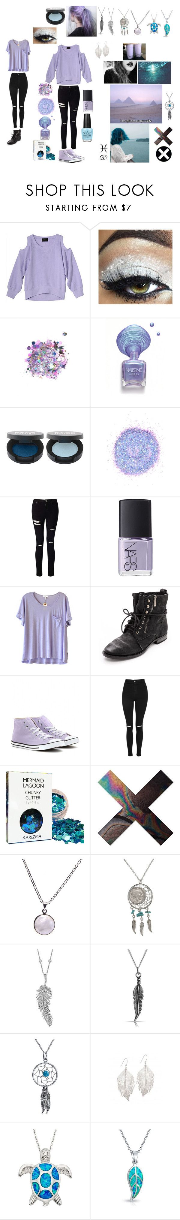 """""""pastel glitter angel"""" by billie-del-rey ❤ liked on Polyvore featuring The Gypsy Shrine, Miss Selfridge, NARS Cosmetics, Clu, Sam Edelman, Converse, Topshop, Puck Wanderlust, American Coin Treasures and Penny Preville"""