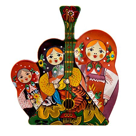 Magnet with nesting dolls and russian balalaika