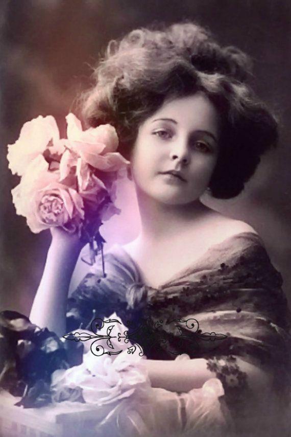 Vintage image altered artCharming GirlRosesvintage от DemiArtDemi
