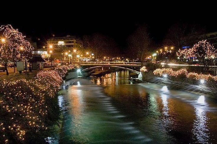 Litheos river in the city of Trikala. Waiting for Christmas ***