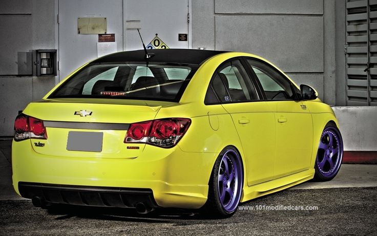 Modified Chevrolet Cruze 2nd Generation J300 With Yellow Rear Bumper Rear Valance Side Body Kit Twin Exhausts Rotiform F Cruze Chevrolet Cruze Chevrolet