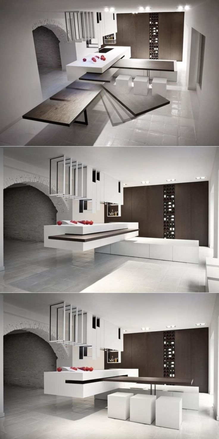 Kitchen Design, Simply Modern Kitchen Design With Good Innovation Slide  Away Table: Get The
