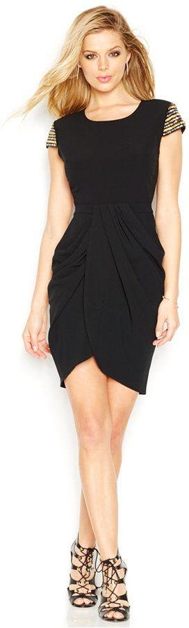 GUESS Sequin-Detail Faux-Wrap Dress