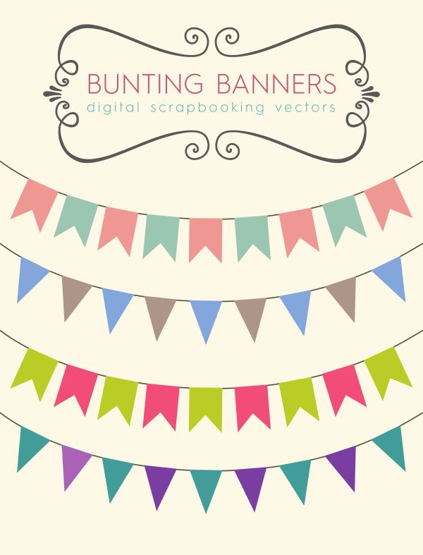Royalty Free Images – Scrapbook Bunting Banners