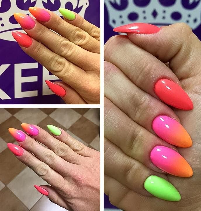 Wskazujący: Vitamin C, środkowy i serdeczny: ombre Macarena + Oh So Special; mały: Bim Ban Bom by Kasia Stachura, Indigo Young Team #spring #multicolour #pink #ombre #green #orange #nails #nail #indigo #new