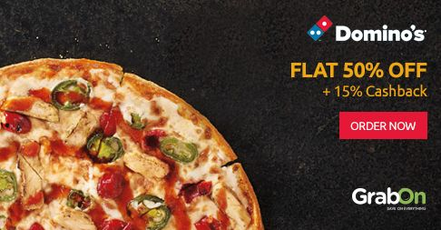 Grab This Super Happy Hours Sale @ #Dominos. Get 50% OFF On Rs 300 + 15% #Cashback. Order Now - http://www.grabon.in/dominos-coupons/