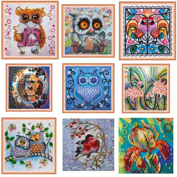 Beaded Embroidery Kit Owls Rooster Birds Flamingo Elephant Summer Flower DIY
