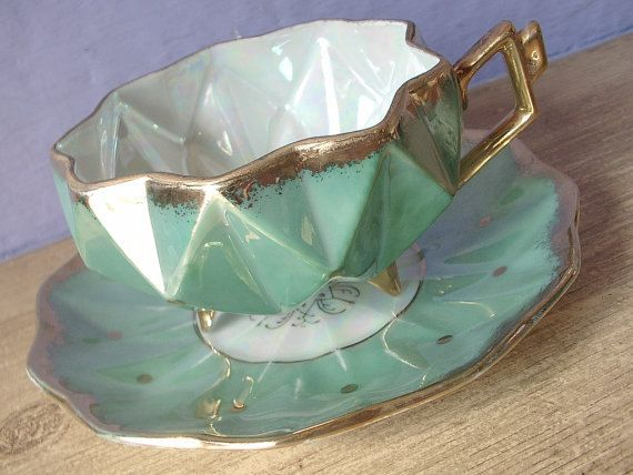 Royal Sealy  green tea cup and saucer, lusterware, footed tea cup