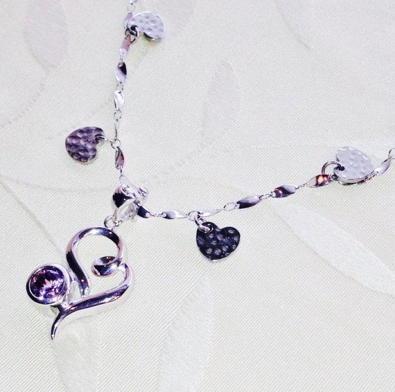 Fainting Heart Charm Necklace With Mystic by NorthCoastCottage