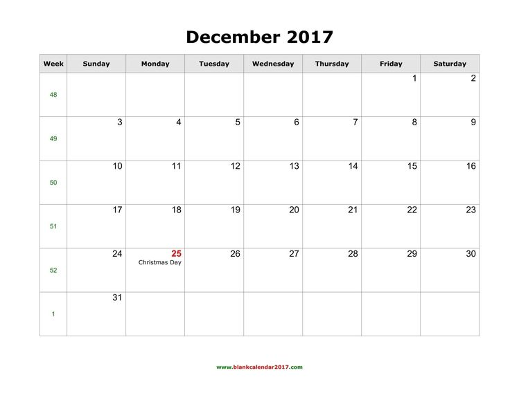 24 best December 2017 Calendar images on Pinterest December - free printable blank calendar