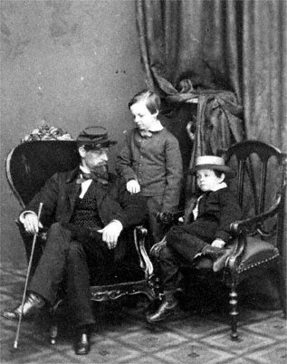Captain Lockwood Todd, William Wallace Lincoln and Tad Lincoln. 1861. (Lockwood Todd is their uncle.)