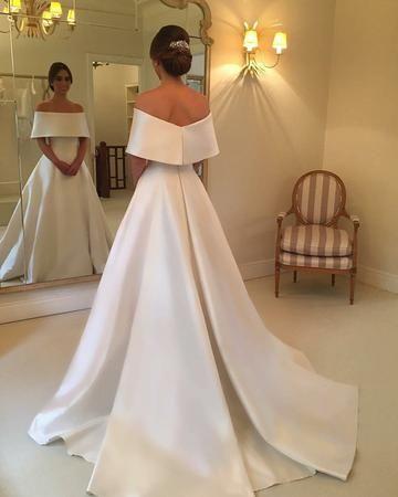 Off The Shoulder Long Satin Wedding Dresses, Elegant