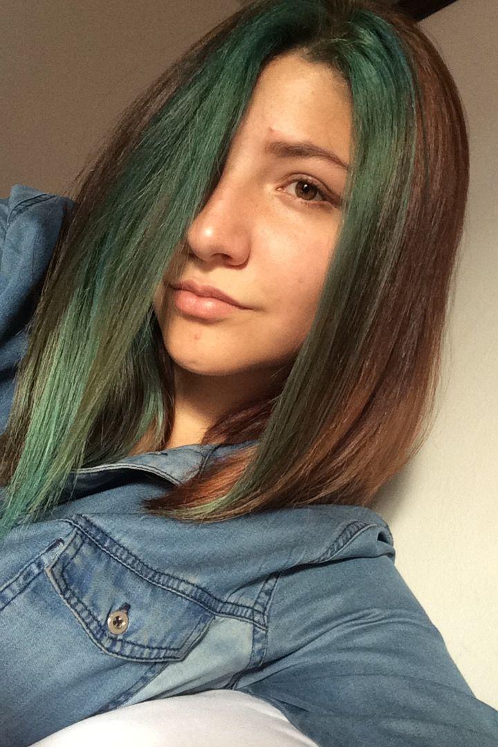 Cabello Corte medio Mechón azul verde Rubio oscuro dorado Cabello de colores 68c8c374841d