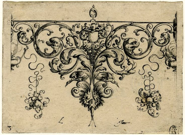 Ornament design with grotesque acanthus leaves and bird wings below Engraving; 1610
