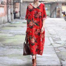 Новый ZANZEA Женщины Случайные Свободные Платья 2017 Элегантные Дамы V шеи Старинные Ретро Цветочный Печати Длинные Платья Макси Vestidos Плюс размер(China (Mainland))