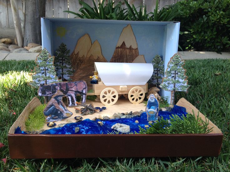 """Jacob's California Gold Rush Project- (for the water I used a blue cellophane bag that I crumbled up for texture & glued the river rocks & """"gold"""" with clear silicone."""