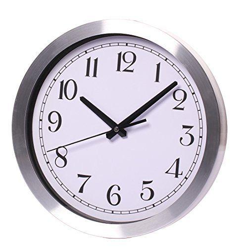 Maywhen Indoor/Outdoor Decorative Silent Non Ticking White Modern Round Wall Clock Metal 12 Inches  #Clock #Decorative #Inches #Indoor/Outdoor #Maywhen #Metal #Modern #Round #RusticGrandfatherClock #Silent #Ticking #Wall #White The Rustic Clock