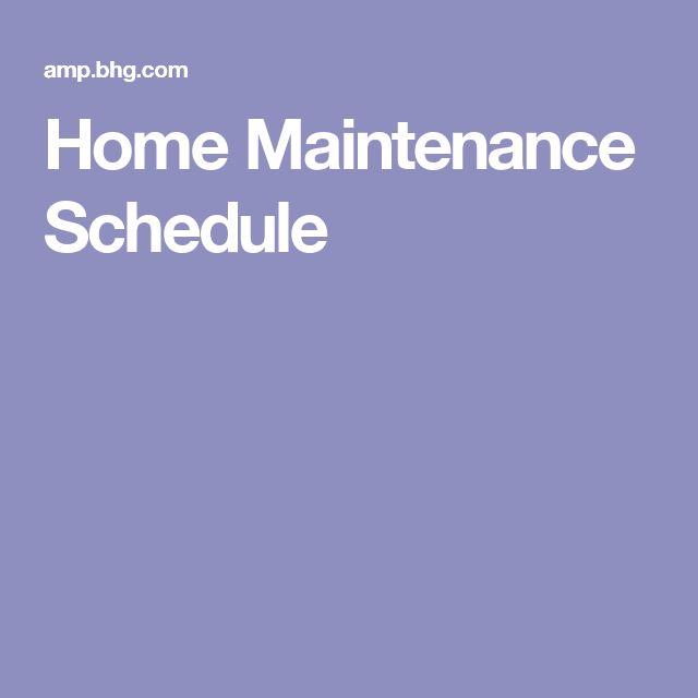 household maintenance schedule
