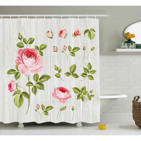 Burmuda Vintage Rose Petals Leaf Shower Curtain Hooks Floral