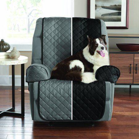 Mainstays Reversible Microfiber Fabric Pet/Furniture Recliner Cover, Black
