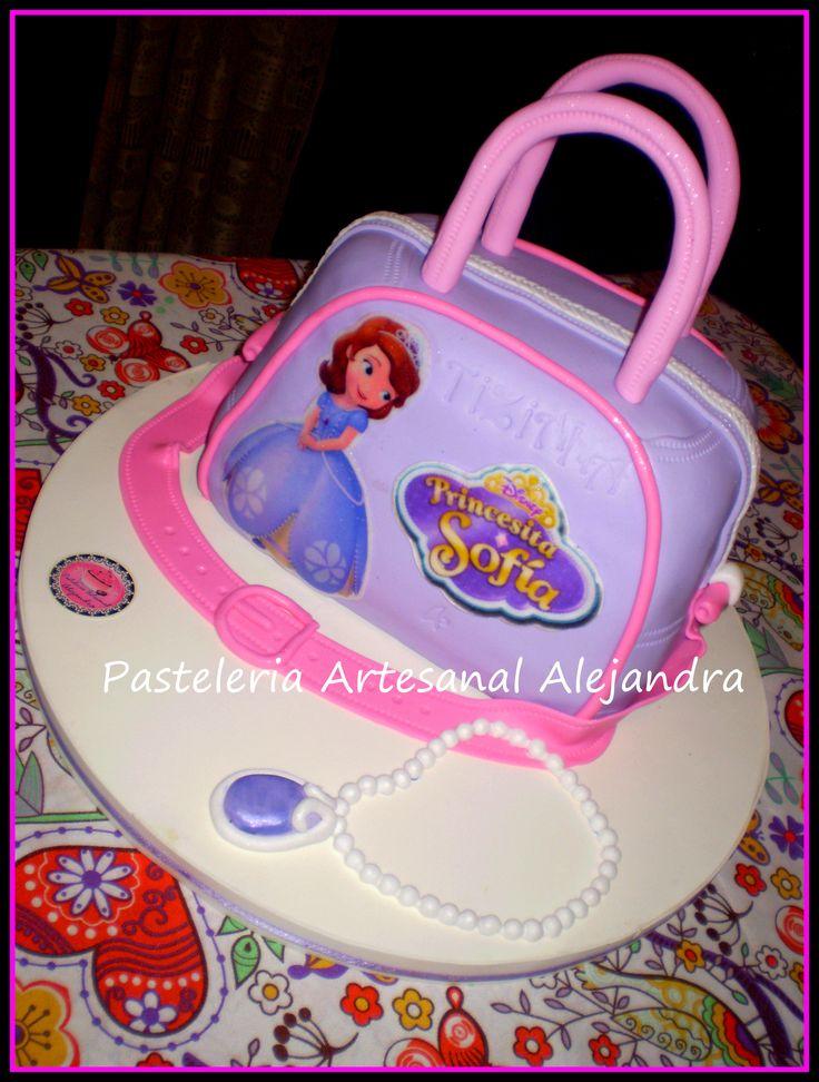torta e forma de cartera de la princesita sofia