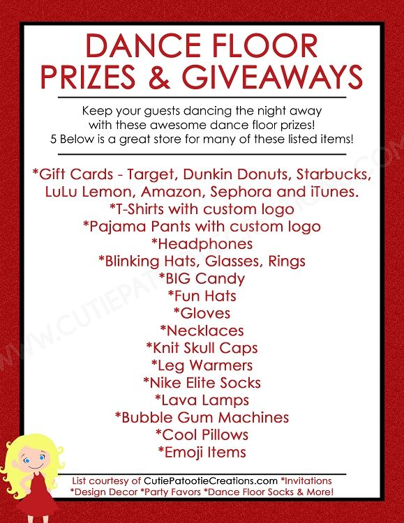 FREE Printable List of Top Dance Floor Prizes and Giveaways for Bar and Bat Mitzvahs, Sweet 16 and Quinceanera.