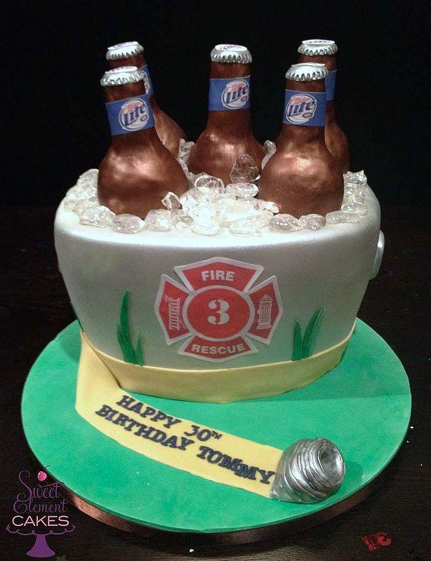 Bucket of Miller Lite Firefighter Birthday Cake | by SweetElement
