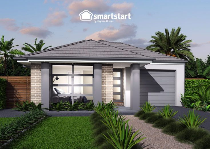 Beaumont with Seaview Facade   The stylish entrance to a relaxed and easy living first home.  #firsthomebuyer #smartstart #smartstarthomes #streetappeal #streetappealideas #streetappealaustralia #streetappealaustraliafrontyards #streetstyle #facadehousesinglestorey