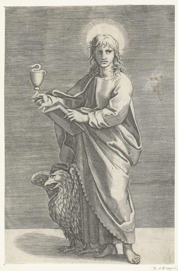 Marco Dente   Apostel Johannes de Evangelist met miskelk en adelaar, Marco Dente, Marcantonio Raimondi, Rafaël, 1517 - 1527  