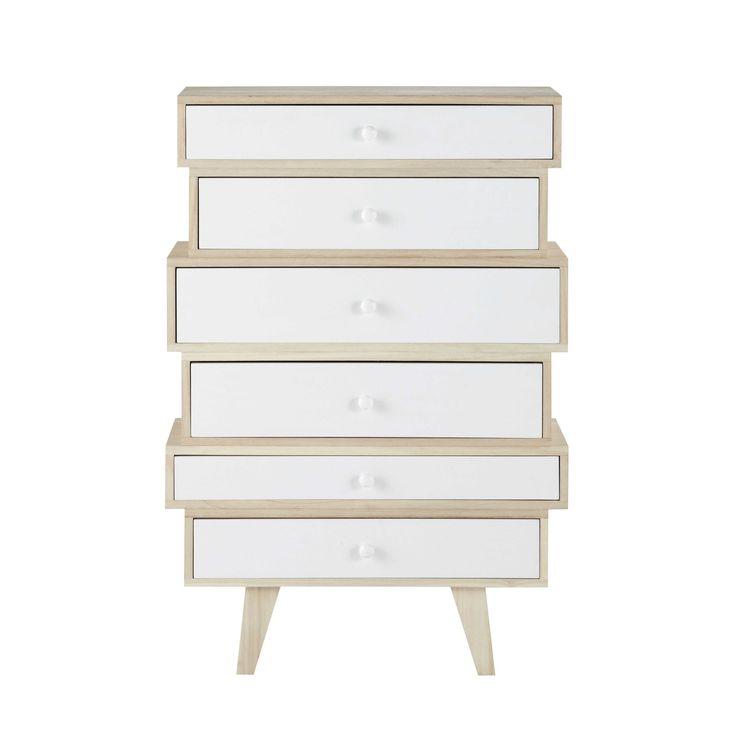 Semainier vintage en bois de paulownia blanc L 65 cm Spring chambre little bouddha