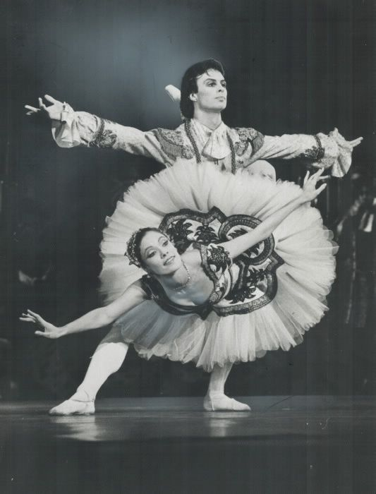 Karen Kain and Frank Augustyn were star personalities in Canadian ballet. Pictured is a performance of Sleeping Beauty in the O'Keefe Centre by the National Ballet. 1979.