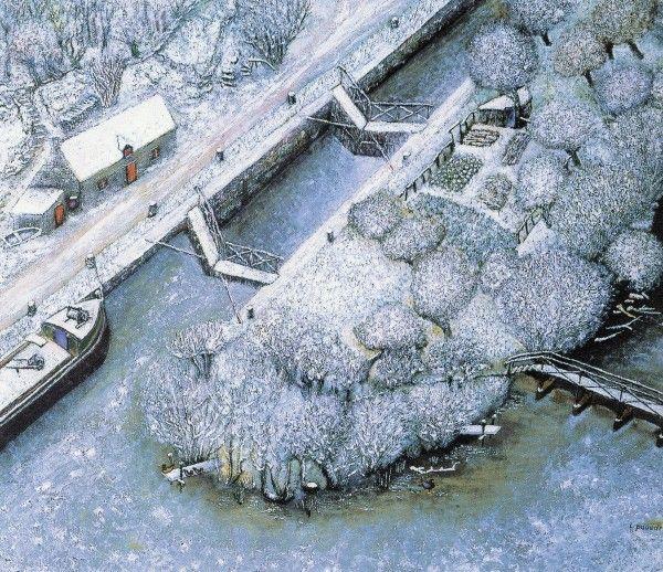 """Lucien Pouëdras,  """"L'écluse sous la neige"""".  Cette écluse sur le Blavet est située en aval de Pont -Augan .  """" Sa construction raconte l'auteur  a laissé entre la passerelle et l'écluse , une île exploitée en prairie et en terre labourable . L'accès pour le transport du fumier et le retour des récoltes se faisait uniquement à la brouette !!! . Les vaches elles mêmes devaient passer par cette passerelle """""""