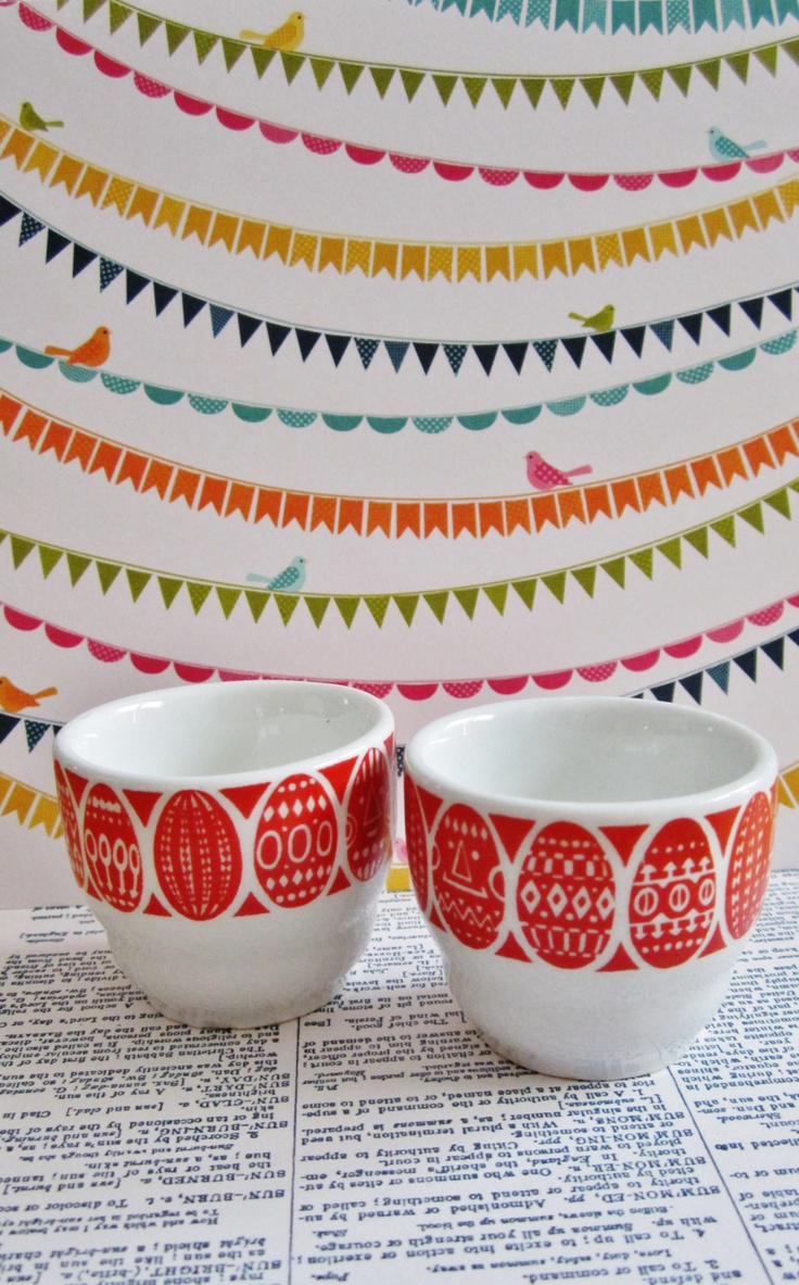 2 Vintage Arabia Finland Easter Egg Cup Mini Size with Red Border