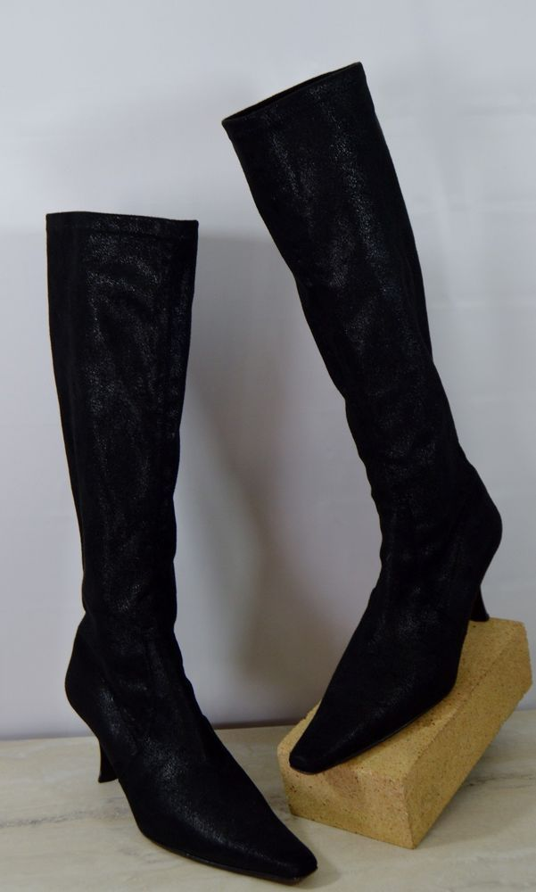 Donald J Pliner Black Shimmer Stretch Knee High Boots Women's Size 9 M #DonaldJPliner #KneeHighBoots #Casual