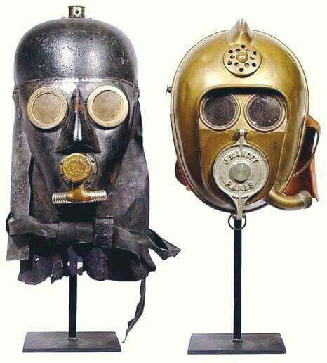 Latest 1800s smoke masks for firefighters.  Looks very much like Darth Vader and c3p0