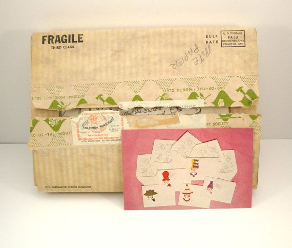 Vintage 1960s fad of the month club hi hats notecards for Craft of the month club