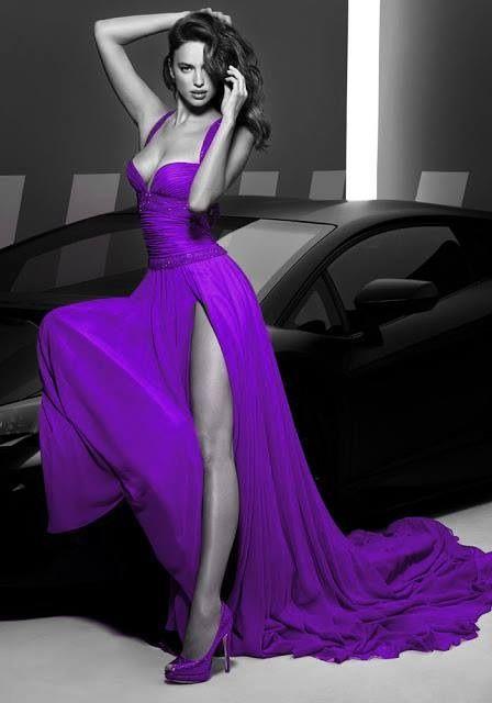 Beautiful purple chiffon evening gown w/ matching peau de soie heels.