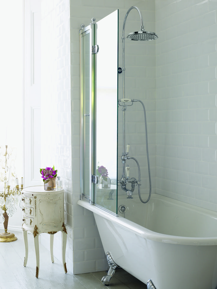 Extensive showering options - Bath Screen from Burlington Bathrooms. http://www.burlingtonbathrooms.com/Products/ProductDetail?prodId=2069&name=Bath%20Screen%20with%20Access%20Panel