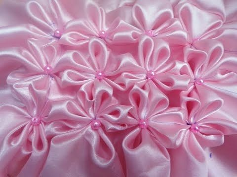 8 petal flower smocking on a fabric - YouTube