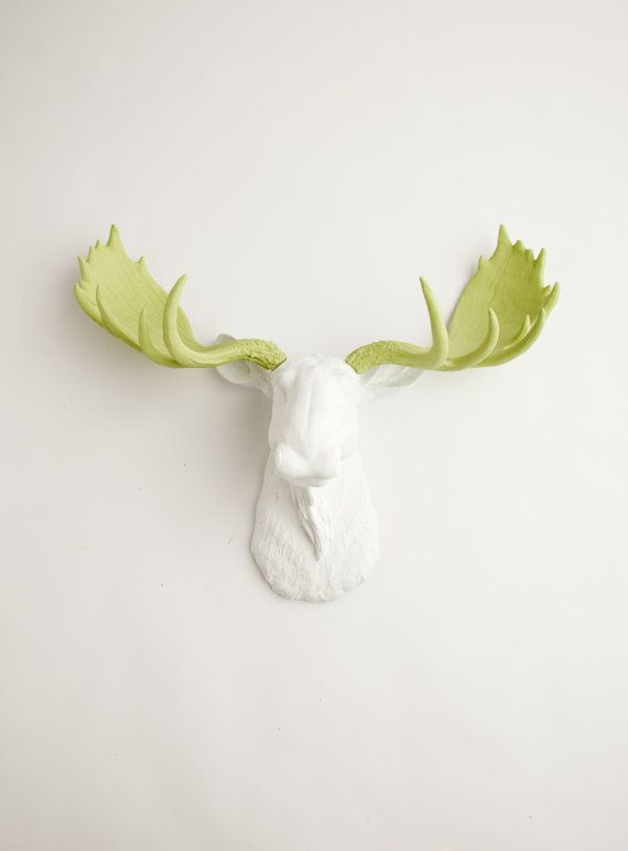 The Cesar  White w/ Mint Green Antlers Resin by WhiteFauxTaxidermy, $129.99: Faux Taxidermy, Mint Green, Antlers Resin, Green Antlers, Resin Moose, Moose Resin, White Faux, Moose Head