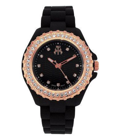 Love this Black & Rose Gold Cherie Watch by Jivago on #zulily! #zulilyfinds