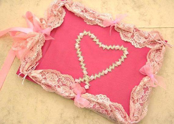 Wedding Guest Book  Pink Romantic Elegant Weddings by LenaWeddings