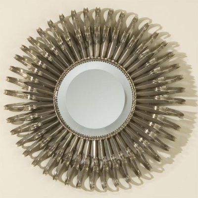 Small Round Nickel Sunburst Mirror - 19 diam. in. - 8.80468