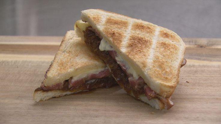 Steak Sandwich with Cheddar, Aioli and Toffee Onions