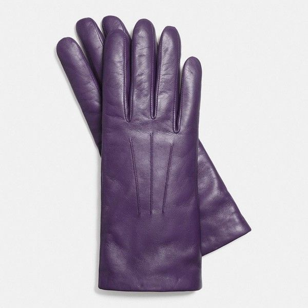 Coach Short Leather Glove ($95) ❤ liked on Polyvore featuring accessories, gloves, purple, short gloves, leather gloves, purple leather gloves, coach gloves and purple gloves