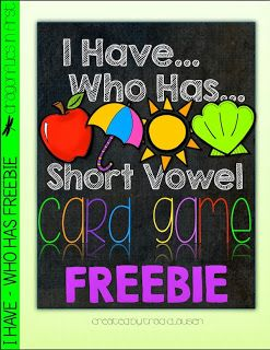 FREEBIE - 5 short vowel games with enough cards in each game for a class of 32 kids.