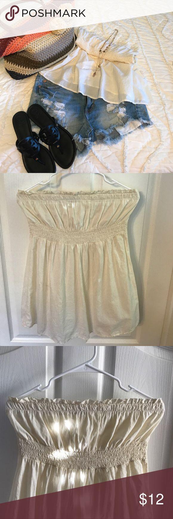 "Cute feminine bandeau top.. Elastic w/ ruffle edge at top.. elastic waist & back..   summery & lightweight 23"" long. Darling w/ denim shorts & cute summer sandals.. heritage Tops"