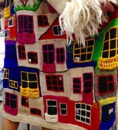 """Купить Пальто """"Хундертвассер солнечный"""" - рисунок, Анна Лесникова, хундертвассер, трикотаж от кутюр, дизайнерская одежда"""
