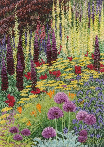 """Georges Garden"" - Free motion machine embroidered thread-work on painted silk background."